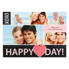 Real Glitter Glowing Love Personalized Photo Valentine Card, 5X7 Flat