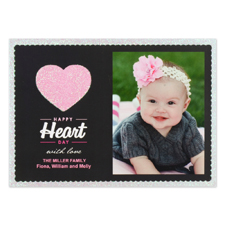Real Glitter Love Personalized Photo Valentine Card, 5X7 Flat