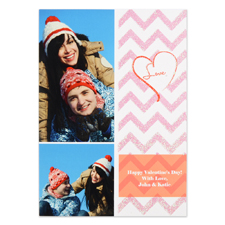 Real Glitter Happy Sparkles Personalized Photo Valentine Card, 5X7 Flat