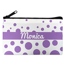 Lavender Polka Dot Personalized Cosmetic Bag