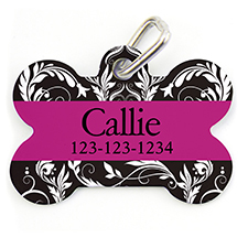 Fuchsia Floral, Bone Personalized Dog Tag
