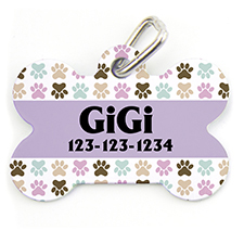 Colorful Paw, Bone Personalized Dog Tag