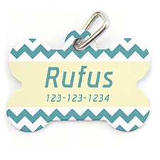Aqua Chevron, Bone Personalized Dog Tag