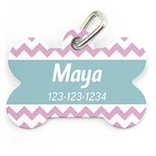 Pink Chevron, Bone Personalized Dog Tag