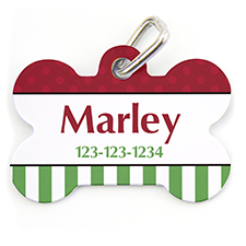 Christmas Stripe Dot, Bone Personalized Dog Tag