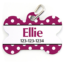 Fuchsia Dots, Bone Personalized Dog Tag
