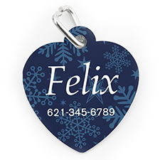 Custom Printed Snowflake, Heart Shaped Dog Or Cat Tag