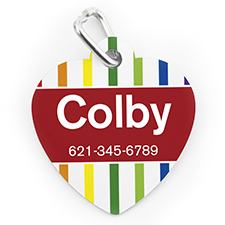 Custom Printed Colorful Stripe, Heart Shaped Dog Or Cat Tag