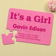Personalized It's A Girl Birth Announcement Puzzle Invite