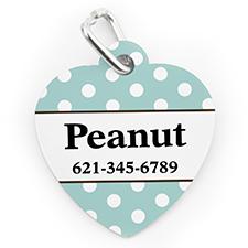 Custom Printed Baby Blue Polka Dot, Heart Shaped Dog Or Cat Tag