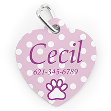Custom Printed Baby Pink Polka Dot, Heart Shaped Dog Or Cat Tag