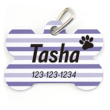 Purple Stripe Paw Personalized Dog Tag