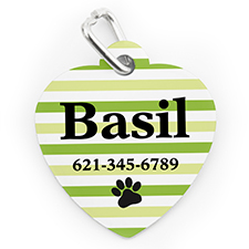 Custom Printed Lime Stripe Paw, Heart Shaped Dog Or Cat Tag