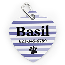 Custom Printed Purple Stripe Paw, Heart Shaped Dog Or Cat Tag