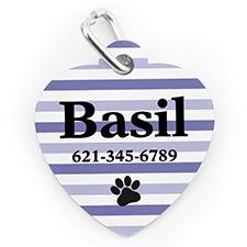 Custom Printed Purple Stripe Paw, Heart Shaped Dog Or Cat Tag