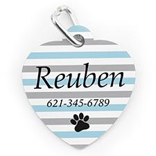 Custom Printed Aqua Stripe Paw, Heart Shaped Dog Or Cat Tag