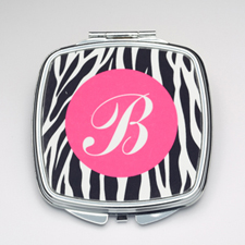 Personalized Black Zebra Compact Make Up Mirror