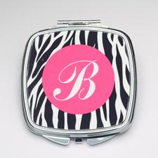 Personalized Black Zebra Compact Make Up Mirror
