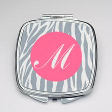Personalized Grey Zebra Compact Make Up Mirror