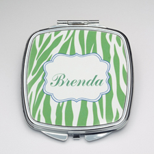 Personalized Green Zebra Compact Make Up Mirror