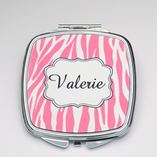 Personalized Fuchsia Zebra Compact Make Up Mirror