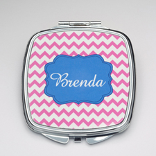 Personalized Purple Chevron Compact Make Up Mirror