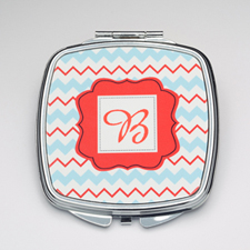 Personalized Aqua Orange Chevron Compact Make Up Mirror