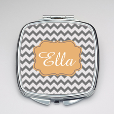 Personalized Grey Chevron Compact Make Up Mirror