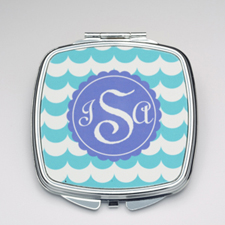 Personalized Aqua Wave Compact Make Up Mirror