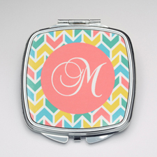 Personalized Colorful Herringbone Compact Make Up Mirror