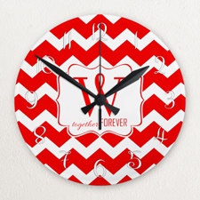 Red Chevron Personalized Acrylic Clock Custom Printed