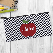Design Your Own Red Apple Black Chevron Pencil Case