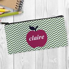 Design Your Own Red Apple Green Chevron Pencil Case