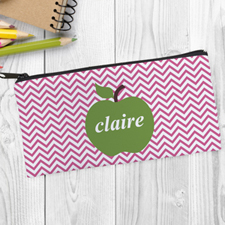 Design Your Own Green Apple Pink Chevron Pencil Case