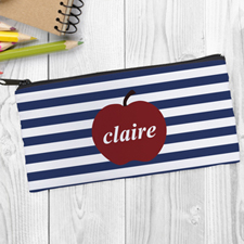 Design Your Own Red Apple Navy Stripe Pencil Case