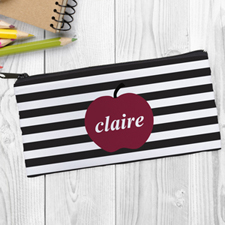 Design Your Own Red Apple Black Stripe Pencil Case