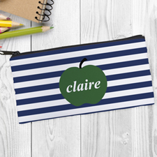 Design Your Own Green Apple Navy Stripe Pencil Case