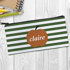 Design Your Own Orange Apple Green Stripe Pencil Case