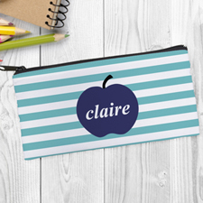 Design Your Own Navy Apple Aqua Stripe Pencil Case