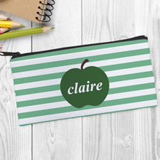 Design Your Own Green Apple Ocean Stripe Pencil Case