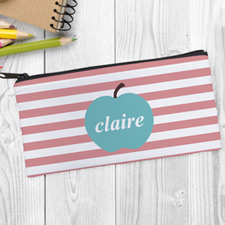 Design Your Own Blue Apple Pink Stripe Pencil Case