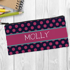 Design Your Own Black Fuchsia Polka Dot Pencil Case