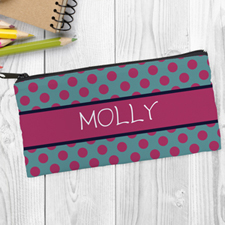 Design Your Own Turquoise Fuchsia Polka Dot Pencil Case