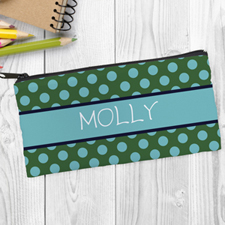 Design Your Own Green Aqua Polka Dot Pencil Case