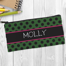 Design Your Own Green Black Polka Dot Pencil Case