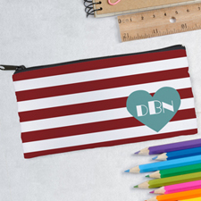 Design Your Own Red Stripe Heart Pencil Case