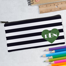 Design Your Own Black Stripe Heart Pencil Case