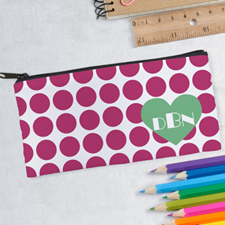 Design Your Own Large Dot Heart Pencil Case