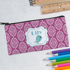 Design Your Own Damask Bird Pink Pencil Case
