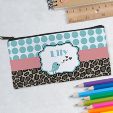 Design Your Own Damask Bird Blue Pencil Case